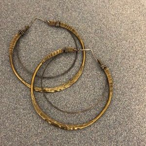 Brass and silver hoop earrings